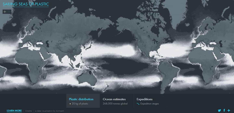 Carte des microplastiques à la surface des océans dressée par l'institut 5 Gyres © http://app.dumpark.com/seas-of-plastic-2/