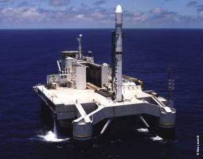 Le 26 mai dernier, une fusée russo-ukrainienne Zenit-3SL a mis sur orbite un satellite de télécommunications Eutelsat 3B depuis une plateforme flottante dans l'océan Pacifique © Sea Launch