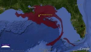 """L'explosion de la plateforme pétrolière """"Deepwater Horizon"""" a provoqué un déversement de pétrole et de produits chimiques en mer et sur les côtes de la Louisiane."""