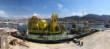 La station bathyale est installée sur une barge tractée par un remorqueur qui se déplacera au large des côtes méditerranéennes entre Marseille et Monaco. ©Laurent Ballesta, Andromède Océanologie, GOMBESSA 5