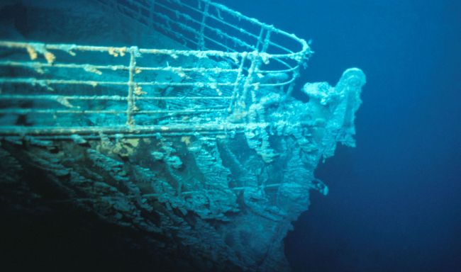 La proue (partie avant) de l'épave du Titanic © RMS Titanic, Inc.