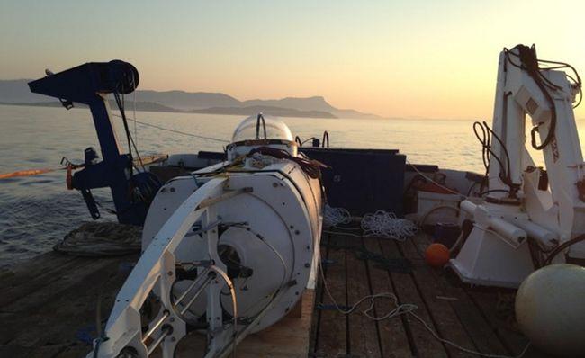 Le sous-marin à pédales lors des tests de coque réalisés à 255 mètres de profondeur au large de Toulon début juillet © www.projetpoissonpilote.com