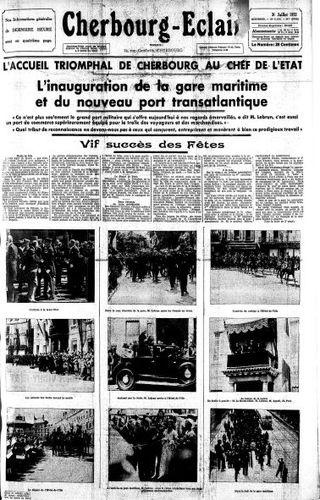 """Cherbourg Eclair 31 juillet 1933 """"L'inauguration de la Gare Maritime et du nouveau port transatlantique"""" © Normannia"""