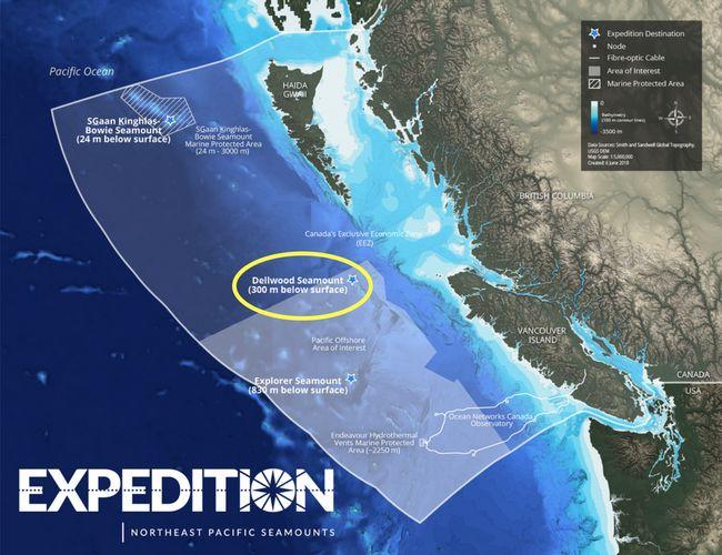 Localisation des 3 monts sous-marins au large des côtes canadiennes © Oceana Canada
