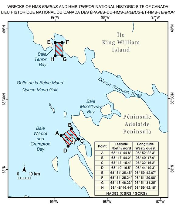 Le HMS Terror gît à Terror Bay (le long des côtes de l'île du Roi-Guillaume) tandis que le HMS Erebus a été découvert le long des côtes de la péninsule Adélaïde.© Parks Canada